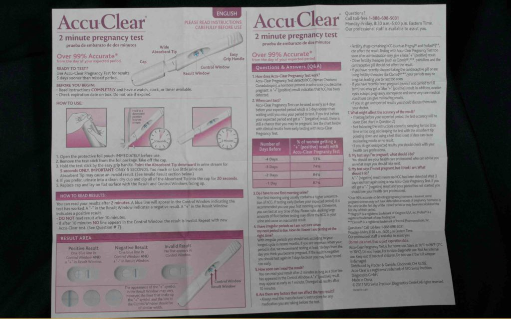 Accu Clear pregnancy test - Directions in English