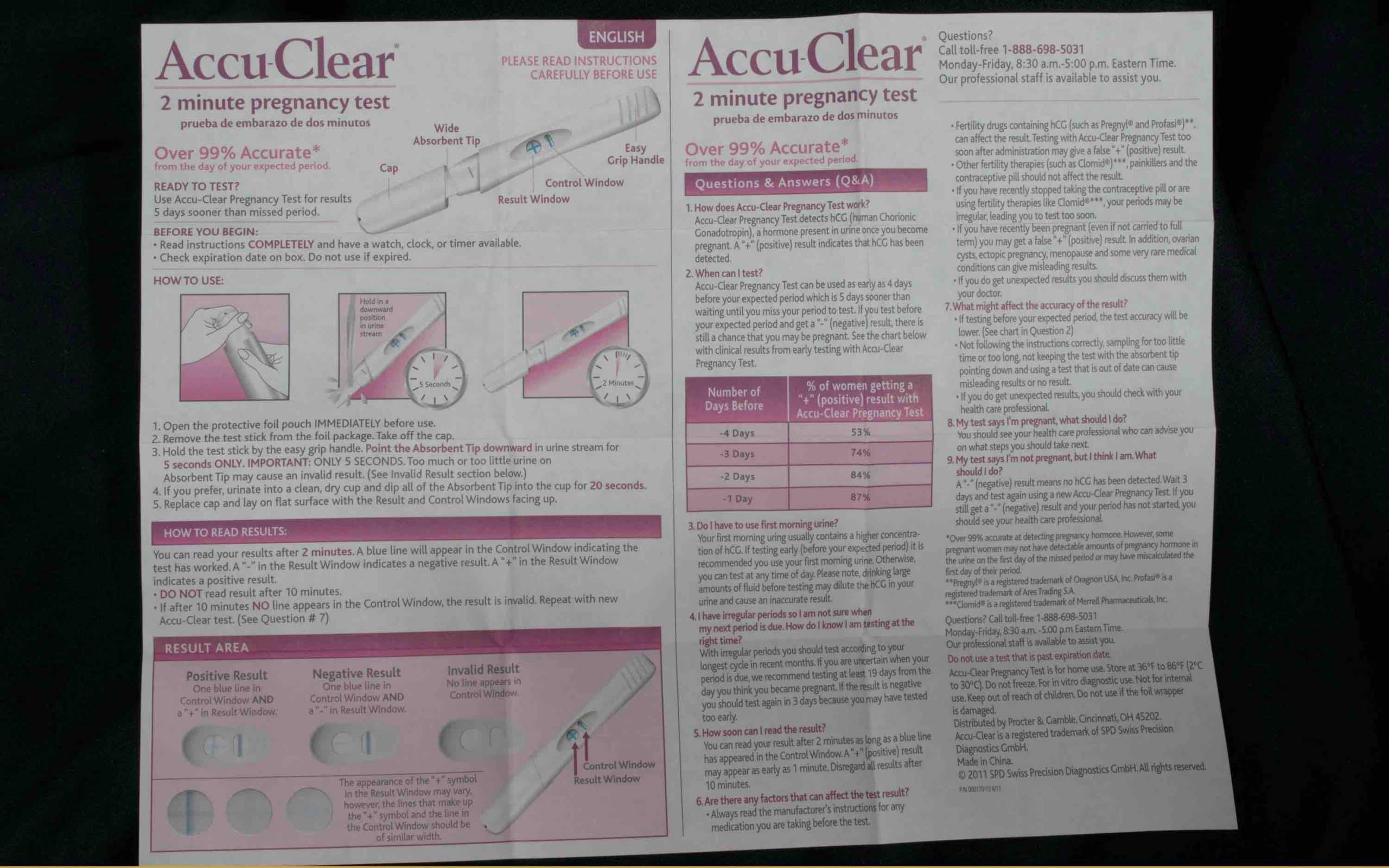 confirm pregnancy test instructions