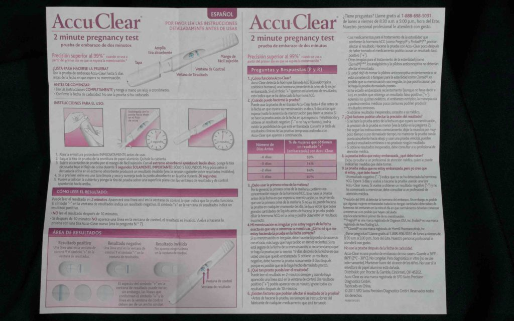 Accu Clear pregnancy test instructions in Spanish