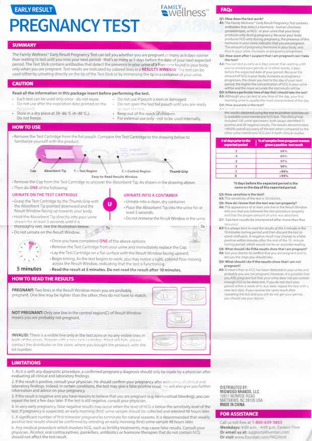 Family Wellness Early Result Pregnancy Test instructions