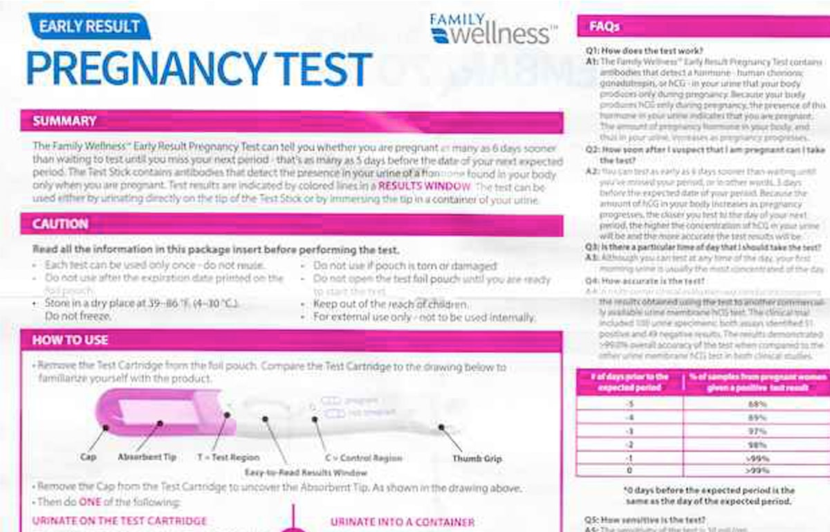 Family Wellness Pregnancy Test directions