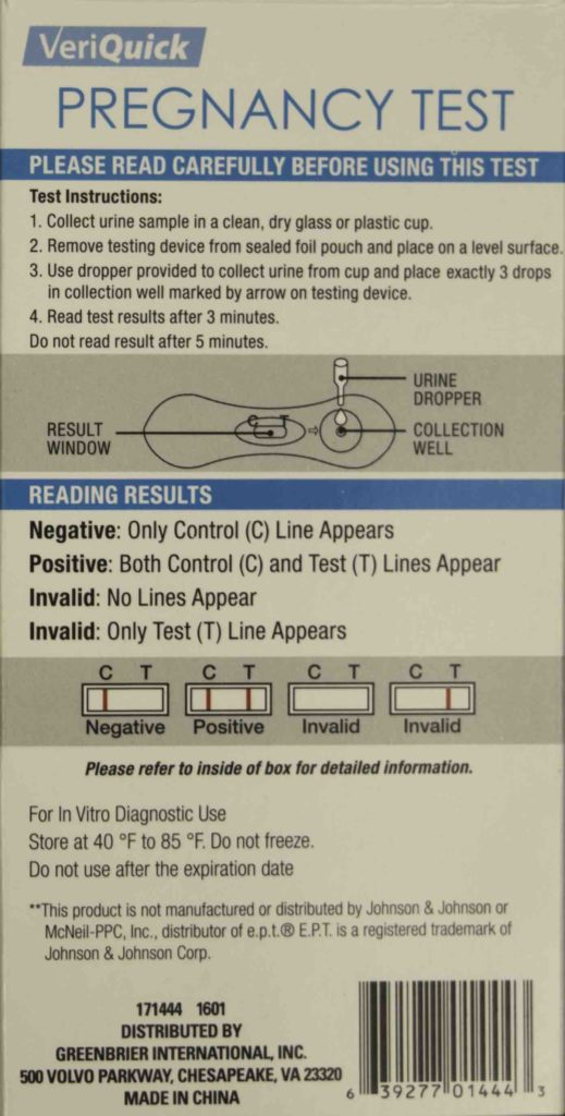 VeriQuick Pregnancy Test Instructions