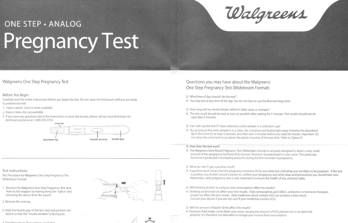 Walgreens One Step Analog Pregnancy Test Instructions